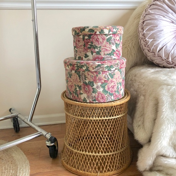 Desire Luxe Other   Vintage Pink Floral Storage Padded Hat Box Set 2